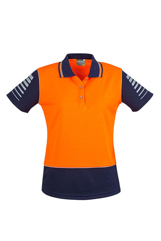 womens-hi-vis-industrial-polo-orange-navy-short-sleeve-front
