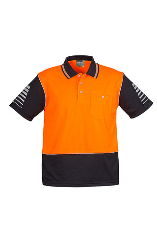 mens-industrial-hi-vis-polo-short-sleeve-orange-black-front