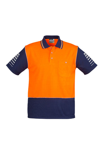 mens-industrial-hi-vis-polo-short-sleeve-orange-navy-front