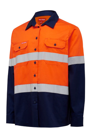 womens-hi-vis-2-tone-longsleeve-work-shirt-taped-yo8805-front-ORN