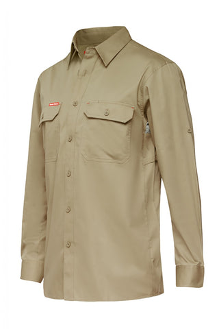 koolgear-lightweight-long-sleeve-khaki-work-shirt-Y07720-front