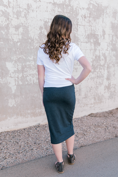 Jane Pencil Skirt in Dusky Grey
