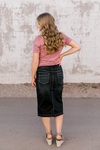 Skylar Black Wash Denim Skirt