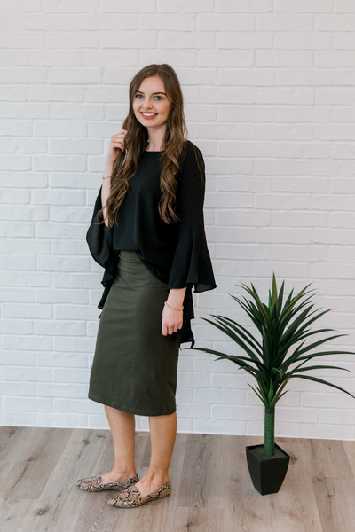 Jane Pencil Skirt in Olive