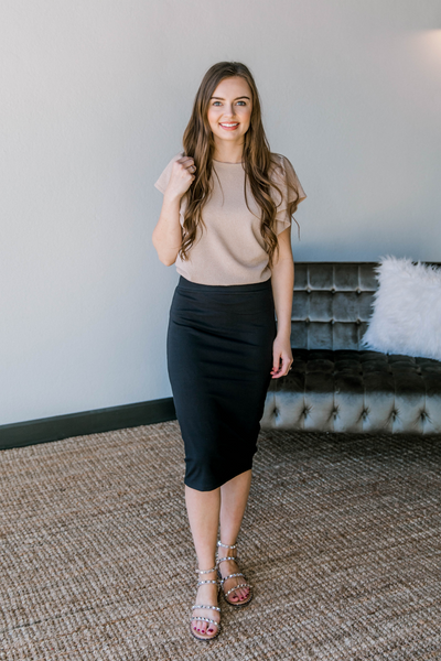 Jane Pencil Skirt in Black