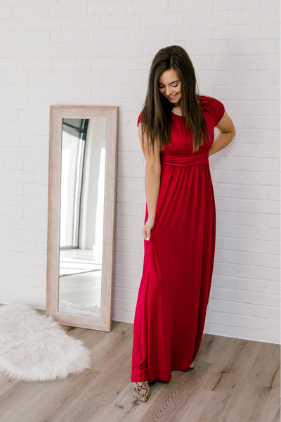 The Layla Dress in Deep Red