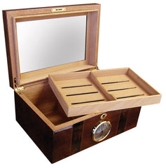 Ambassador 100 Cigar Humidor with Beveled Glass Top and External Hygrometer - AMB - Cigar Manor