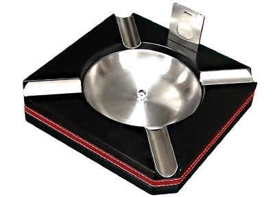 Wood Ashtray w/ Black Finish, Leather Trim & Cutter