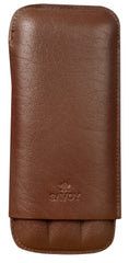 Savoy Cigar Case Dbl Corona 3 Finger Case Brown - GSACBR3DC - Cigar Manor