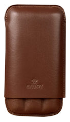 Savoy Cigar Case Immensa 3 Finger Case Brown - GSACBR3IM - Cigar Manor