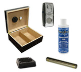 Chalet Black Cigar Humidor Gift Set - CM CHLT BLK GS - Cigar Manor