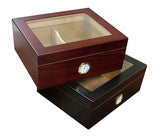 Chalet 50 Cigar Humidors with Glass Top - CHLTG/BK - Cigar Manor