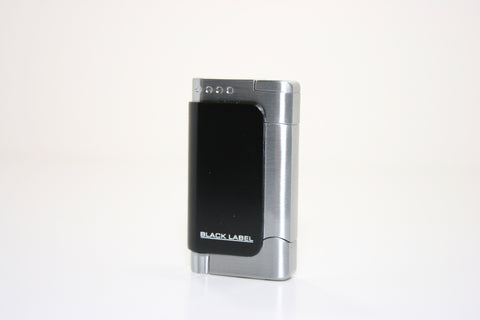 Black Label Burgundy Dual Torch Lighter Black Matte & Brushed Chrome