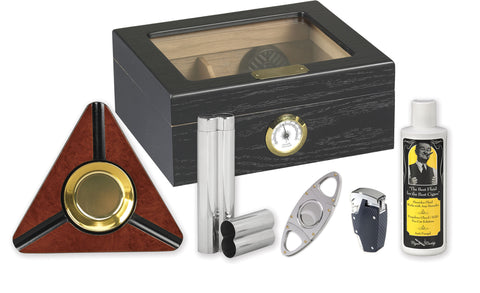 Capri 50 Cigar Humidor Kit Black Oak