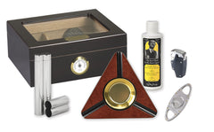 Capri 50 Cigar Humidor Kit Dark Burl - KIT-HUM-25HYG - Cigar Manor
