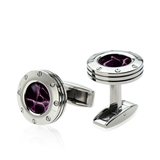 Colibri Daytona 2 Cuff Link Stainless + Purple Gator - T30060CL - Cigar Manor