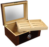 Berkeley II 100 Cigar Humidor with Glass Top & External Black Hygrometer - BRKLY2 - Cigar Manor