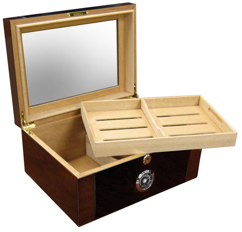 Berkeley II 100 Cigar Humidor with Glass Top & External Black Hygrometer