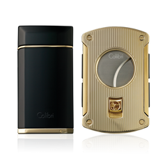 Colibri Evoke Lighter & Slice Cutter Gift Set Black + Gold - C49702GS - Cigar Manor