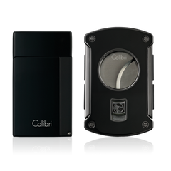 Colibri Aspire Lighter & Slice Cutter Gift Set Black - C82101GS - Cigar Manor