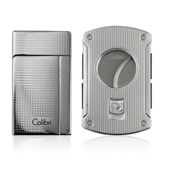 Colibri Aspire Lighter & Slice Cutter Gift Set Chrome - C82102GS - Cigar Manor