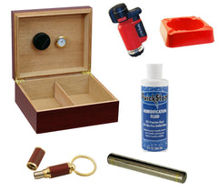 Chalet Cherry Cigar Humidor Gift Set - CM Chlt Chr GS - Cigar Manor