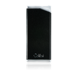 Colibri Delta Soft Flame Lighter Metallic Black + Polished Chrome - LI300C1 - Cigar Manor