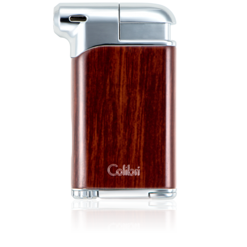 Colibri Pacific Soft Flame Lighter Wood Grain + Polished Chrome