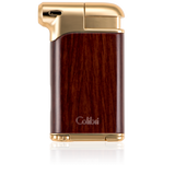 Colibri Pacific Soft Flame Lighter Wood Grain + Gold Tone - LI400C4 - Cigar Manor