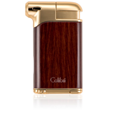 Colibri Pacific Soft Flame Lighter Wood Grain + Gold Tone