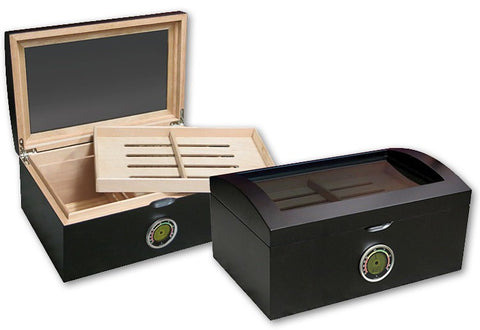 Portofino Matte Black 100 Cigar Humidor with Glass In Lid