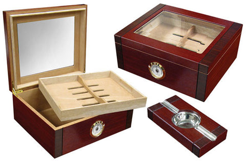 Sovereign 50 Ct. Humidor Set w/ Glass Top & External Hygrometer and Ashtray