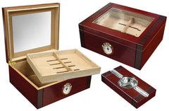 Sovereign 50 Ct. Humidor Set w/ Glass Top & External Hygrometer and Ashtray - Sovrn - Cigar Manor