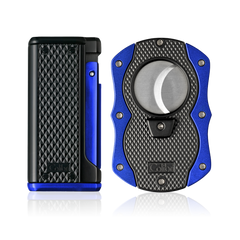 Colibri Monza 3 Lighter and Cut Gift Set Matte Black + Anodized Blue - T10005GS - Cigar Manor