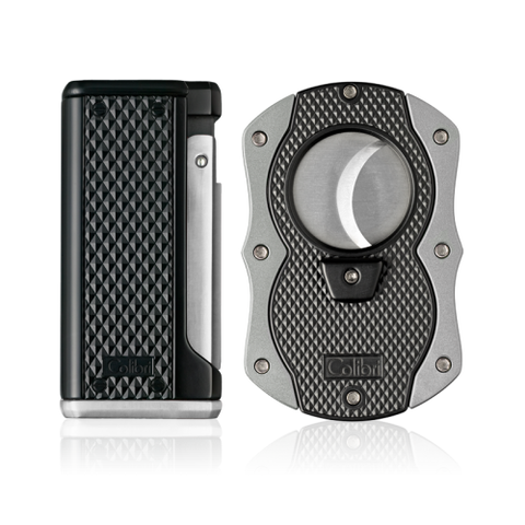 Colibri Monza 3 Lighter and Cut Gift Set Matte Black + Anodized Silver