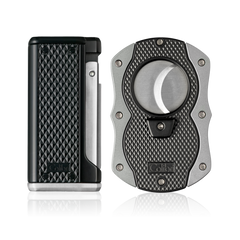 Colibri Monza 3 Lighter and Cut Gift Set Matte Black + Anodized Silver - T10006GS - Cigar Manor