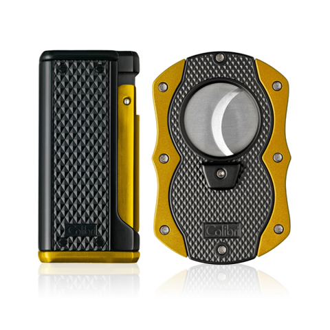 Colibri Monza 3 Lighter and Cut Gift Set Matte Black + Anodized Yellow
