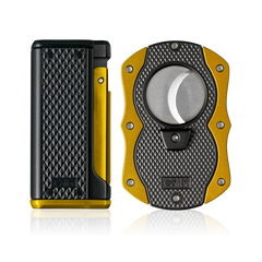 Colibri Monza 3 Lighter and Cut Gift Set Matte Black + Anodized Yellow - T10007GS - Cigar Manor