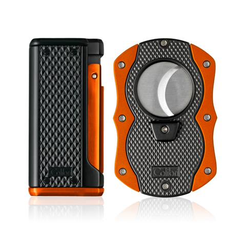 Colibri Monza 3 Lighter and Cut Gift Set Matte Black + Anodized Orange