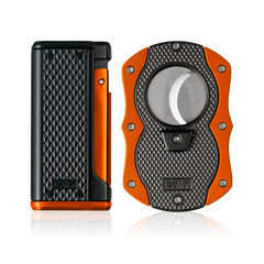 Colibri Monza 3 Lighter and Cut Gift Set Matte Black + Anodized Orange - T100008GS - Cigar Manor