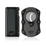Colibri Monza 3 Lighter and Cut Gift Set Matte Black + Anodized Black - T10009GS - Cigar Manor