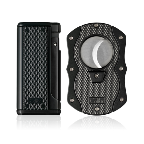 Colibri Monza 3 Lighter and Cut Gift Set Matte Black + Anodized Black
