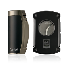 Colibri Enterprise 3 & Slice Cutter Gift Set Black Matte and Gunmetal - T11501GS - Cigar Manor