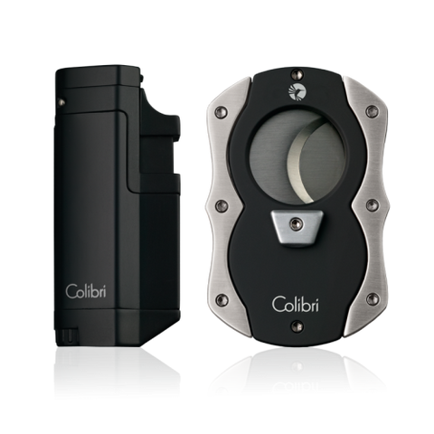 Colibri Tribeca Lighter + Cut Cutter Gift Set Black + Chrome