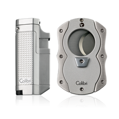 Colibri Tribeca Lighter + Cut Cutter Gift Set Silver - T41502GS - Cigar Manor