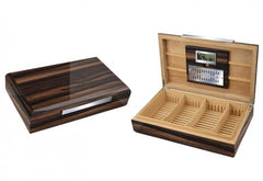 Vanderbilt 120 Ct. Lacquered Ebony Wood Humidor w/ Slotted Divider System