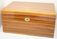 Daniel Marshall 20150 Zebrawood with Tray 150 Count Humidor - 20150.8T - Cigar Manor