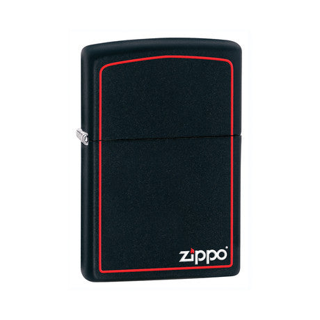 Zippo Lighter Matte Black w/ Red Border