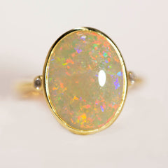 A6905 Solid Crystal Opal 18K Gold Ring
