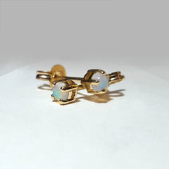 A6865 Solid Opal 9Kt Gold Earrings